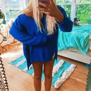 Sweaters - Cobalt Blue Chunky Fisherman's Knit 🌈